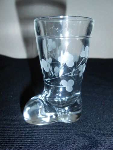 VTG 2 OZ Etched Flower Glass Boot Shot Glass Toothpick Match Holder FREE SHIP!