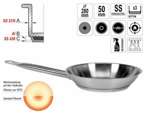 Brat-Pfanne Gastronomie Qualität Edelstahl Ø 28cm Induktion Kapseltopfboden