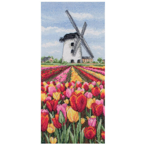 1x Cross Stitch Kit Dutch Tulips Landscape Sewing Craft Tool Hobby Art