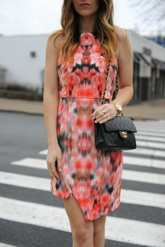 FINDERS KEEPERS WAY TO GO CORAL RED FLORAL PRINT DRESS Size S RRP..REDUCED