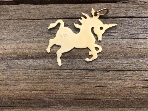 Vintage Unicorn 14k Gold Necklace Pendant/ Charm - image 1