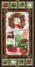 Country Holiday Skates Sleigh Wreath Christmas Timeless Treasures Fabric Panel