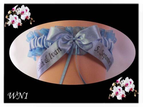 Exklusive Strumpfband mit Name und Datum Hochzeit Braut was blaues Strumpfbänder