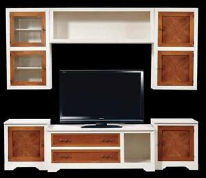 Parete attrezzata bianca e noce sospesa intarsiata classica soggiorno libreria ebay - Parete attrezzata bianca ...