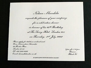 Image Is Loading NELSON MANDELA Birthday Invitation VERY RARE Invite 85th