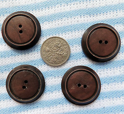 4 vintage brown buttons Bakelite? Art Deco  1 inch (25 mm)