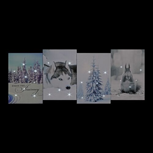 Husky Battery Operated 4-Image Canvas 56x21cm Trees 1 Tree /& Squirrel