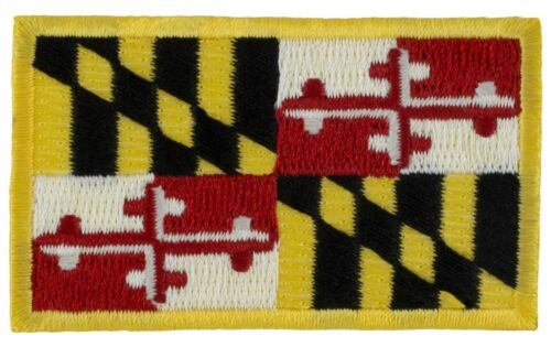 """Iron-on M53 - 1.5/"""" x 2.5/"""" -24582 Embroidered Maryland State Flag Patch"""