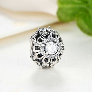 925-Sterling-Silver-Floral-Brilliance-Charm-Clear-CZ-European-Pendant-for-Women