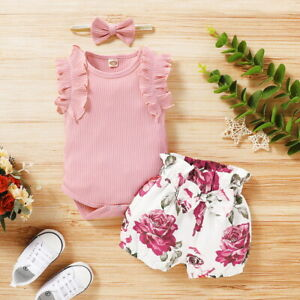 Newborn-Baby-Girl-Romper-Tops-Jumpsuit-Floral-Shorts-Headband-Outfit-Clothes-Set