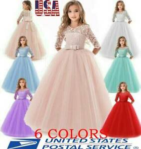 Girl-Flower-Dress-Princess-Party-Wedding-Bridesmaid-Formal-Gown-Kid-Long-Dresses