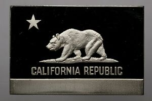 1974-OFFICIAL-US-FLAGS-CALIFORNIA-STERLING-SILVER-BAR-INGOT-FRANKLIN-MINT-DR