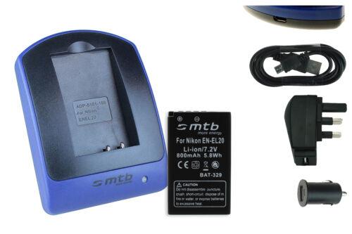 J1 S1 // Coolpix A J2 J3 USB-Charger for Nikon 1 AW1 Battery EN-EL20