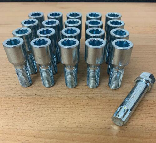 tecla de Estrella x 20 hilo de 26mm Rueda De Aleación Sintonizador Slim Pernos Lugs M12 X 1.5
