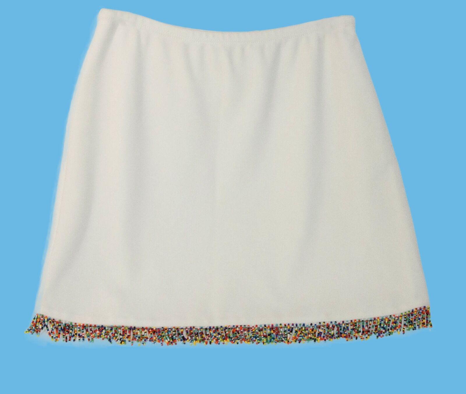 NWT CACHE White MINI SKIRT ELASTIC WAIST w mult-color BEADED TRIM  Size M