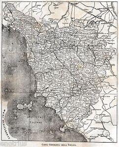 Cartina Geografica Della Toscana.Carta Geografica Della Toscana Nel 1891 Con La Romagna Fiorentina Passepartout Ebay