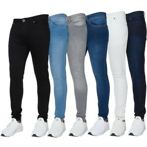 New-ENZO-Mens-Super-Skinny-Stretch-Comfort-Denim-Jeans-All-Sizes-Black-Grey-Blue