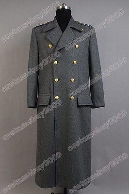Torchwood Doctor Captain Jack Harkness Jacket Wool Coat Cosplay Costume Grey Ver