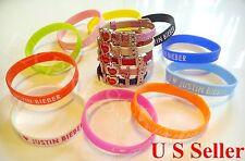 100pcs I Love Justin Bieber Silicone Bracelet & 5pcs I Love JB Crystal Wristband