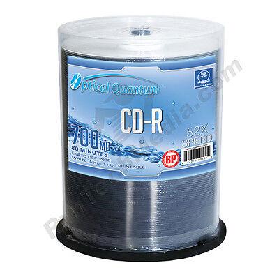 100 Optical Quantum 52x 80 min 700MB CD-R Water Resistant White Inkjet Printable