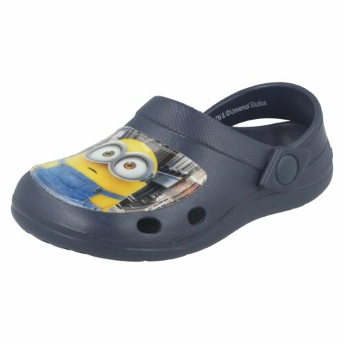 Boys Minions Rounded Toe Slip On Synthetic Clogs Whymper