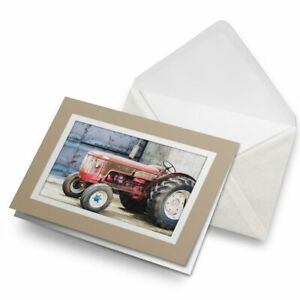 Greetings-Card-Biege-Red-Vintage-Tractor-Farming-Agriculture-24101