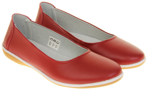 Ladies Coolers Slip On Ballerina Leather Summer Flats Shoes Size 4 5 6 7 8