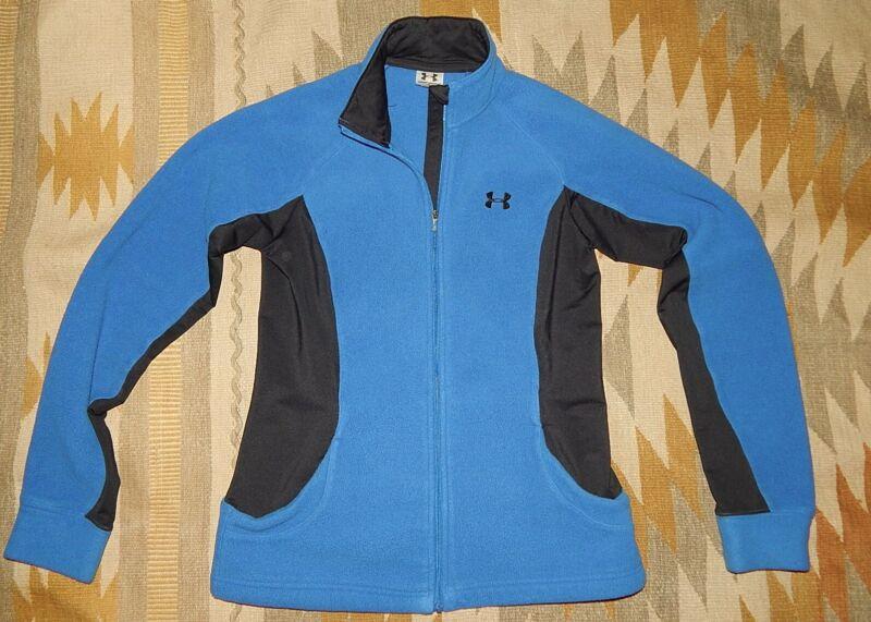 Under Armour Women's M Blue Fleece Zippered Jacket W Black Side Accent Yet Not Vulgar