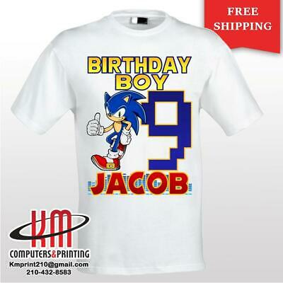 Sonic The Hedgehog Custom T Shirt Personalized Birthday Shirt Ebay