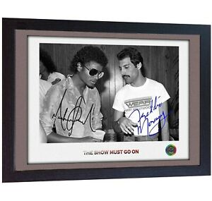 Freddie-Mercury-Queen-Michael-Jackson-signed-photo-autograph-Music-FRAMED