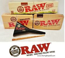 RAW Rolling Papers Brand 32 (1 1/4) Organic Hemp Cones+Storage Tin+Filler