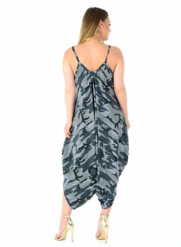 New Women/'s Lagenlook camouflage Army Romper Cami Strappy Baggy Harem Jumpsuit
