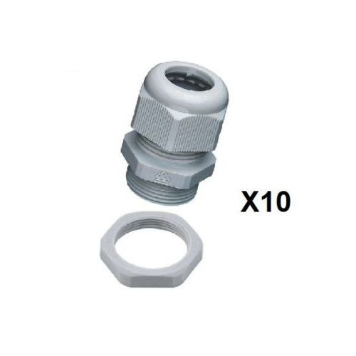 14mm Nylon ghiandola /& Lock Nut ip68 PG ghiandole Grigio pg16gn 10 x pg16 ghiandole 10mm