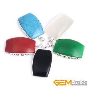 Fashion-27x55mm-Gemstone-Beads-White-Tibetan-Silver-Jewelry-Charm-Women-Pendant