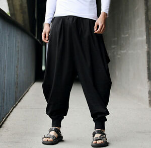 Cotton Linen Mens Harem Baggy Pants Japanese Loose Casual Style Boho