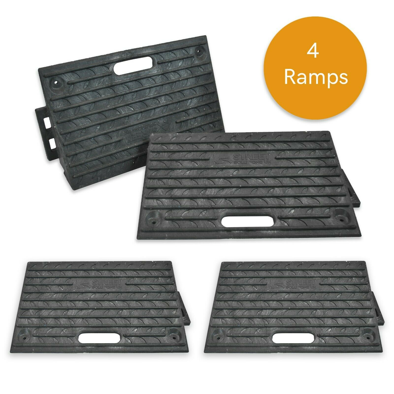 4 x Heavy Duty Kerb Access Ramps in Black   Perfect for HGV Usage Brand New