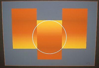 MODERN 1971 JULIAN CASADO *ESTIO* OP ART ABSTRACT GEOMETRIC PAINTING - LISTED