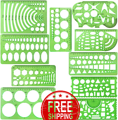 BCP Set of 2 Clear Green Color Plastic Measuring Templates Geometric Rulers for Office and School