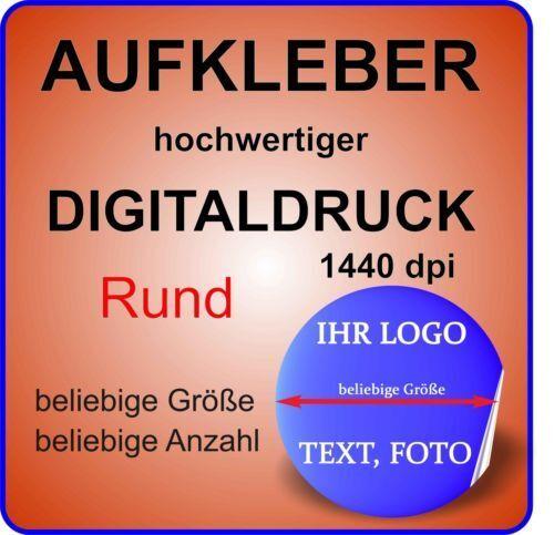 1-50x Werbe Aufkleber RUND Small mit Ihrem Logo Bild GLANZ TRANSPARENT Permanent