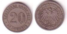 20 Pfennig Nickel Münze Deutsches Reich 1892 A Jäger 14 (114686)