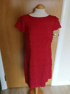Ladies-AUTOGRAPH-Dress-Size-14-Red-Tiered-Smart-Party-Evening-Wedding-Races