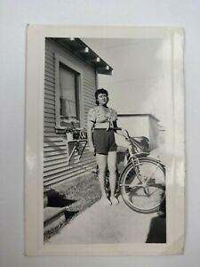 "Vintage B&W Risque Picture - Photo of a Woman Next to her Bicycle 3""x4.5"""