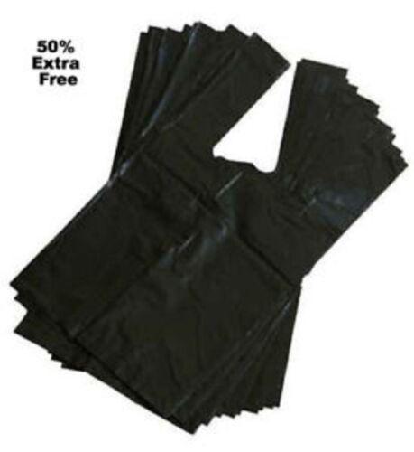LARGE DOGGY BAG POO BAG DOG WASTE POOP STRONG BAG WITH TIE HANDLES BLACK D11
