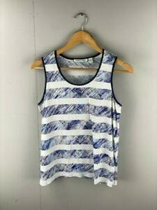 Country-Road-Women-039-s-Tank-Top-Blue-White-Stripe-Cotton-Singlet-Shirt-Size-Small