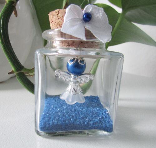 Geburt Kommunion Gastgeschenk,Taufe,Hochzeit Blau//Weis Schutzengel im Glas