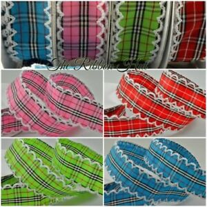 25mm-Check-Plaid-Ribbon-with-Scallop-Crocheted-Edge-Per-Metre-Crafts-Trim