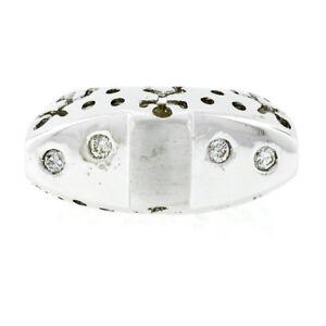 Neuf-18k-or-Blanc-16ctw-Polir-Set-Diamant-Large-Gonfle-Perce-Travail-Band-Bague