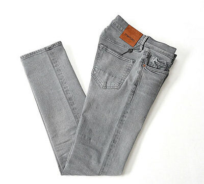 NEW TOM FORD $680 TFD002 STRAIGHT Denim Jeans Selvedge Cotton Stretch [38] Gray