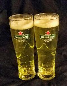 Heineken-Beer-Glass-Stein-New-Nucleated-Star-Bottom-Pilsner-2-RARE-Man-Cave-Bar