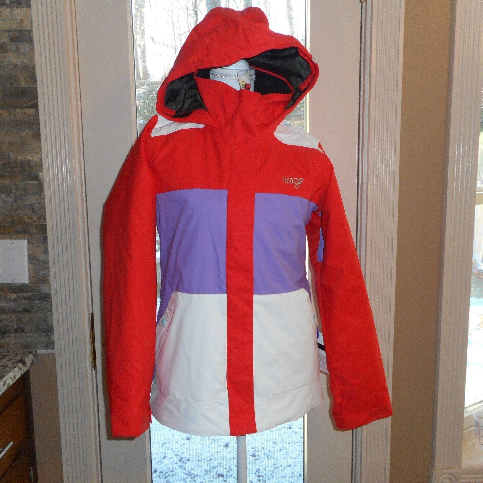 ORAGE Größe 14/XL Orange lila Weiß Long Sleeve Hooded Snow Winter Snow Hooded Ski Coat a1763e